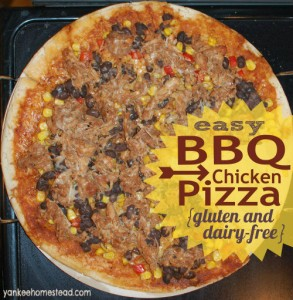 BBQ Chicken Pizza {gluten and dairy-free} | YankeeHomestead.com