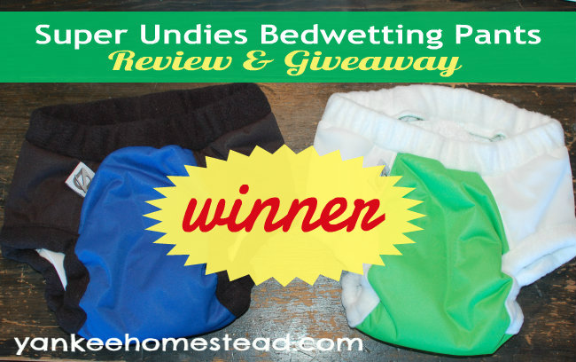 Winner of the Super Undies Giveaway