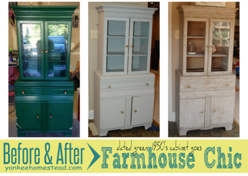 Before & After: Dated Green Cabinet goes Farmhouse Chic | Yankee Homestead