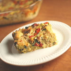 Awesome for breakfast or dinner, this make ahead gluten-free Sausage and Egg Bake is a great way to sneak more veggies into your family's diet.