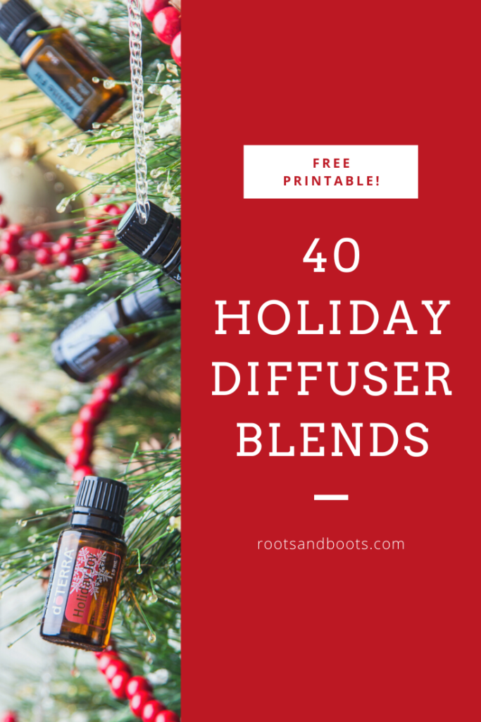 Free Printable List of 40 Holiday Diffuser Blends | Roots & Boots