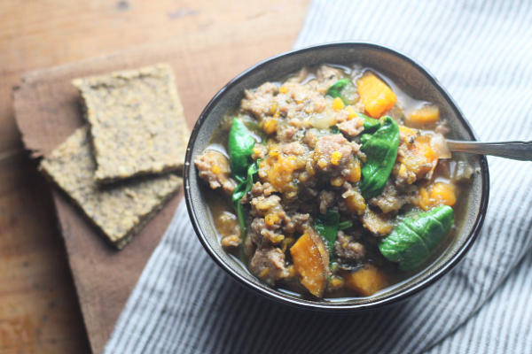 Sausage & Sweet Potato Soup with Spinach | Roots & Boots
