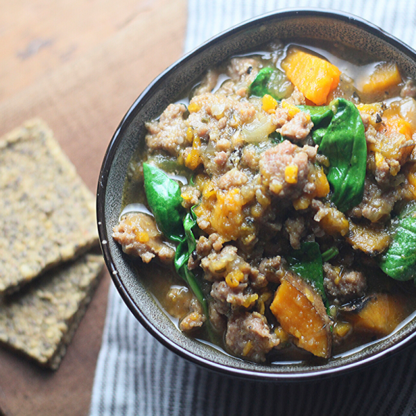 Sausage & Sweet Potato Soup with Spinach
