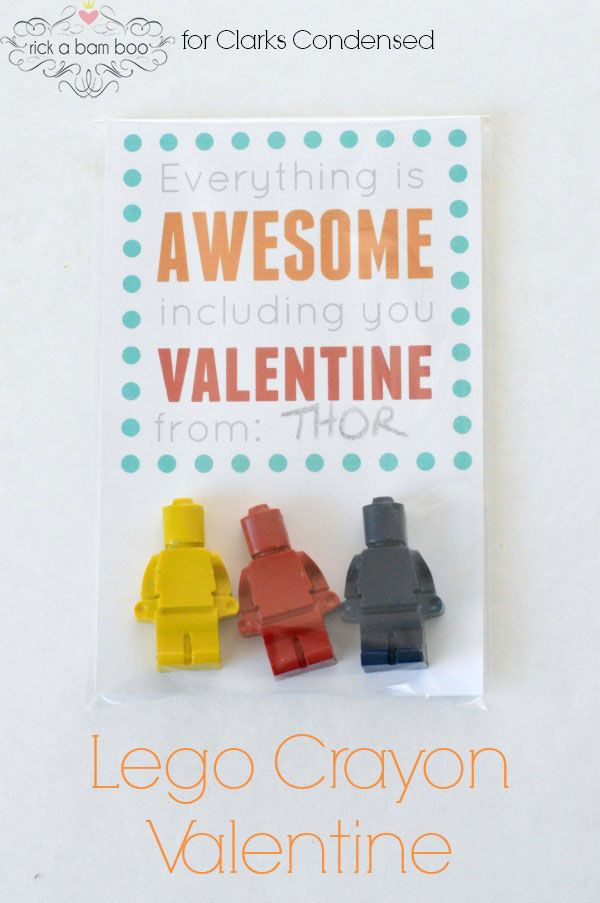 DIY Lego Crayons Valentine: Non-candy valentines ideas | Roots & Boots