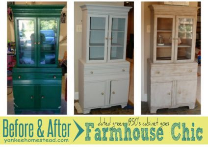 Before & After: Dated Green Cabinet goes Farmhouse Chic