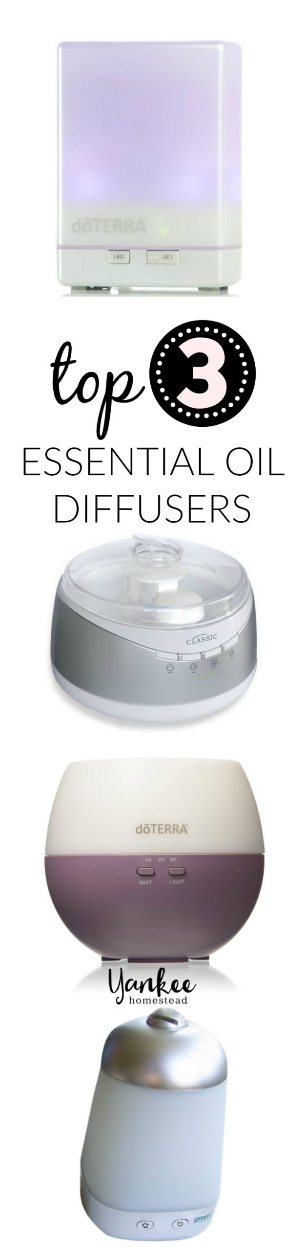 Top 3 Essential Oil Diffusers | Looking for a good essential oil diffuser? Here are my top three, plus two more. Why do you even need a diffuser? Click through to find out!
