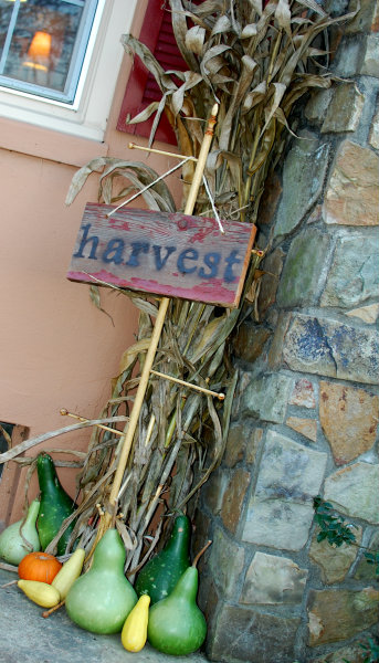 Harvest Sign with Cornstalks and Gourds