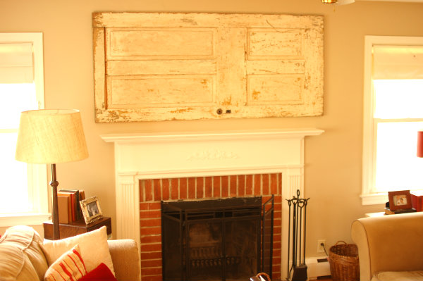 Old Door over Living Room Mantel