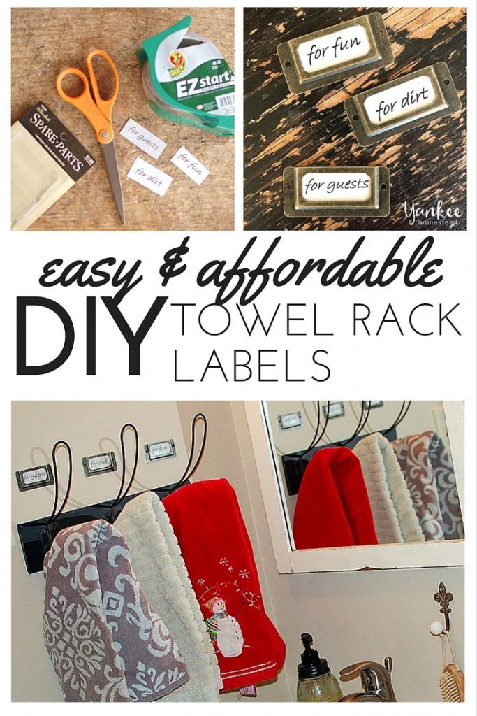 Simple and affordable DIY Towel Rack Labels: all you need is a printer and a few quick supplies.