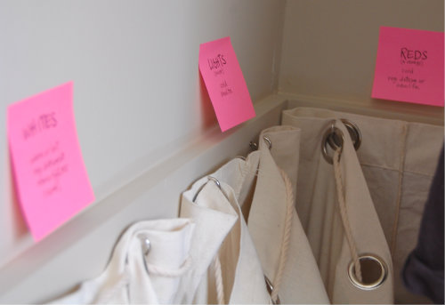 Sorting Closet with Sticky Notes