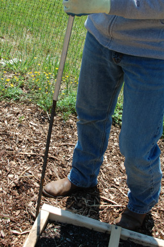 Square Foot Gardening--Sliding Conduit over Rebar