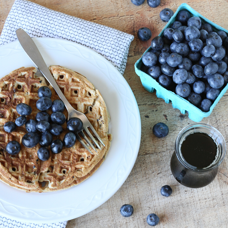Paleo Blueberry Blender Waffles