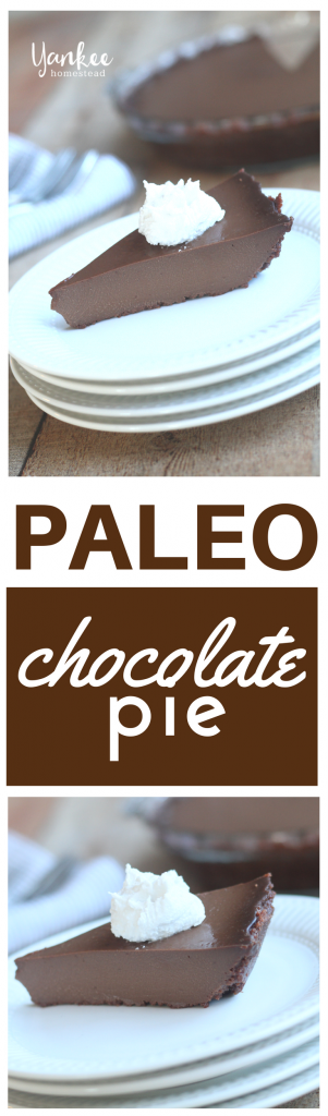 With a simple chocolate crust and a creamy chocolate filling, this Paleo Chocolate Pie is the classic chocoholic dessert. | Yankee Homestead