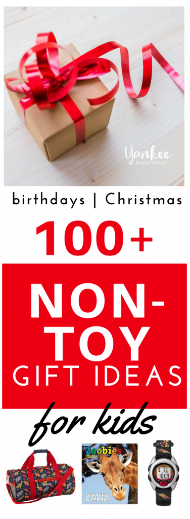 """Experiences and simple, meaningful gifts trump more """"stuff"""" any day. Here are over 100 awesome non toy gift ideas for kids sure to fit every budget... 