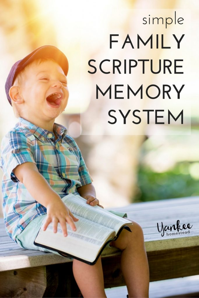 This simple family Scripture memory system really works! An easy rotation method allows you to memorize many verses in just five minutes or less each day. | Yankee Homestead