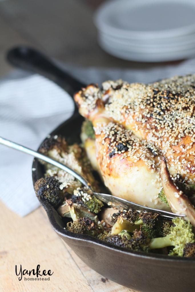 Paleo Sesame Garlic Chicken with Broccoli & Sweet Poatoes | Yankee Homestead
