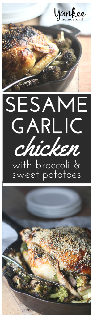 A simple one-pot meal with flavorful results fancy enough for guests or a special occasion: Paleo Sesame Garlic Chicken with Broccoli & Sweet Potatoes | Yankee Homestead