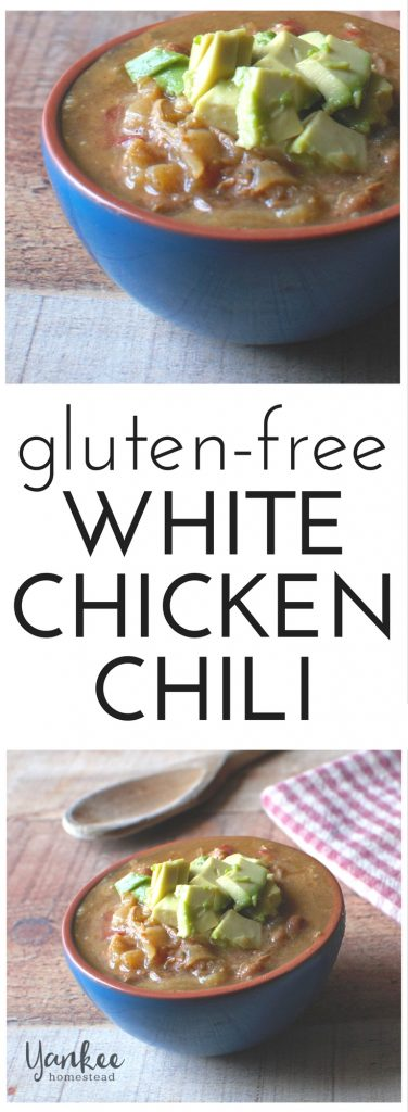 This nourishing White Chicken Chili is perfect for a cold winter day. Gluten-free, grain-free and dairy-free. | Yankee Homestead