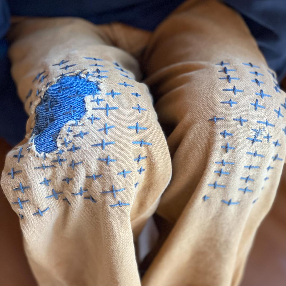 Sashiko Fabric Mending | Roots & Boots