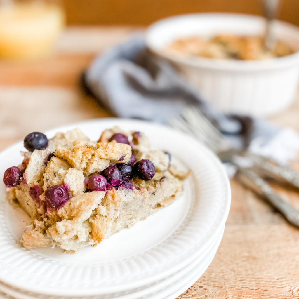 Paleo Friendly Blueberry French Toast Casserole | Roots & Boots