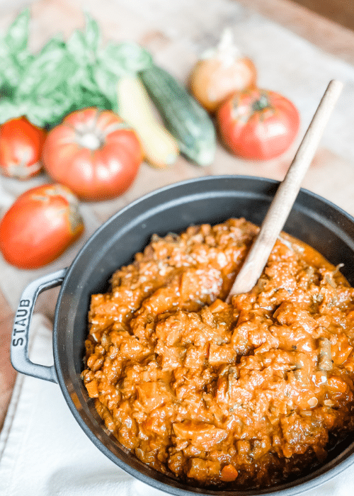 Hearty Marinara with Veggies and Ground Beef   Roots & Boots