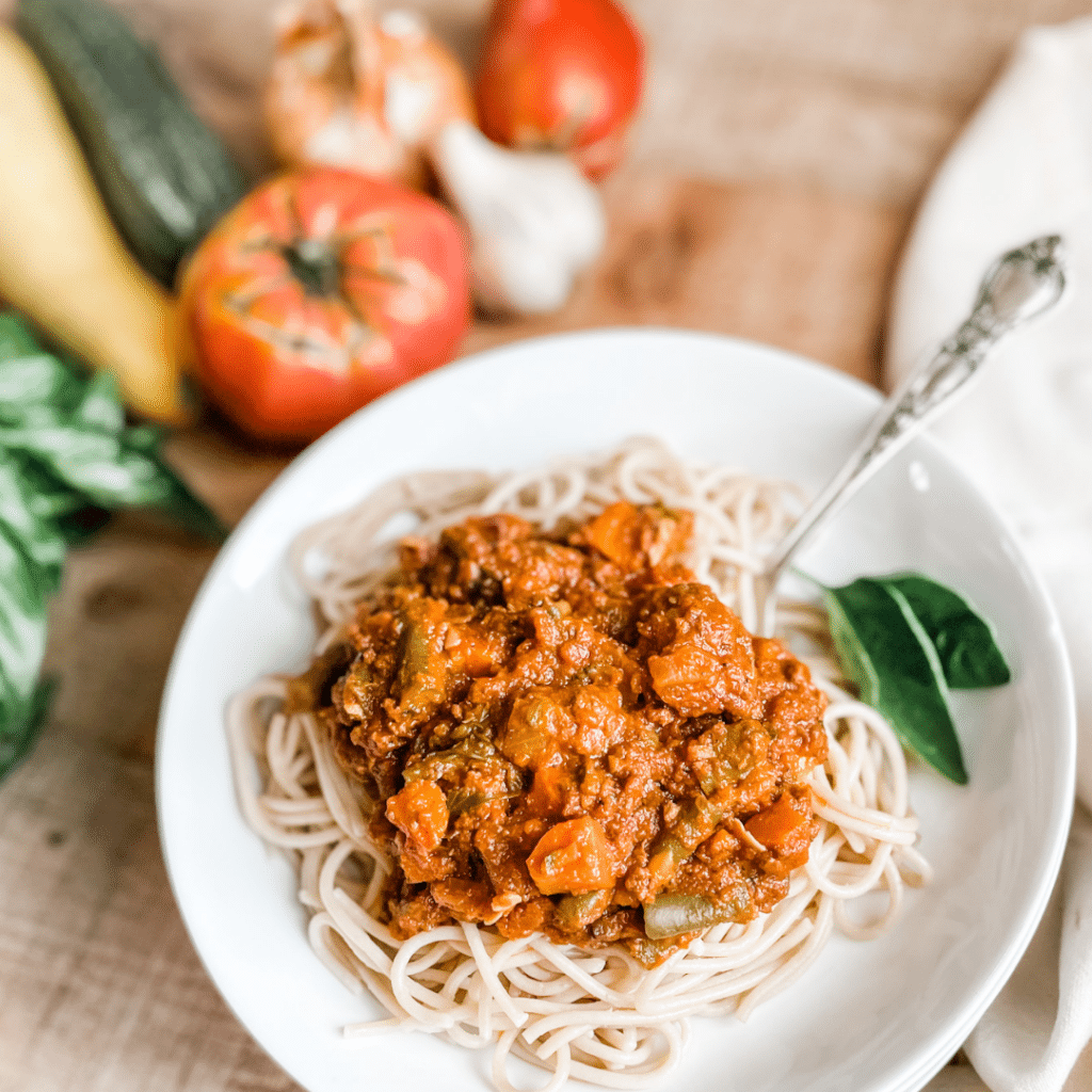 Hearty Marinara with Veggies & Ground Beef | Roots & Boots